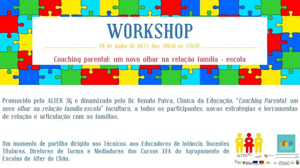 """workshop """"Relação Família- escola"""" em Alter do Chão"""